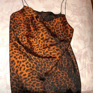 Leopard print satin slip dress